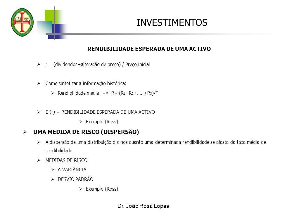 INVESTIMENTOS Dr. João Rosa Lopes RENDIBILIDADE ESPERADA DE UMA ACTIVO r = (dividendos+alteração de preço) / Preço inicial Como sintetizar a informaçã
