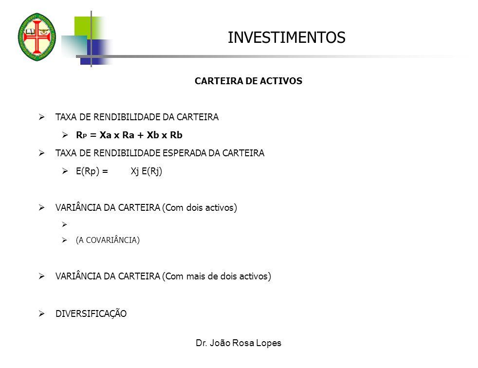 INVESTIMENTOS Dr. João Rosa Lopes CARTEIRA DE ACTIVOS TAXA DE RENDIBILIDADE DA CARTEIRA R P = Xa x Ra + Xb x Rb TAXA DE RENDIBILIDADE ESPERADA DA CART
