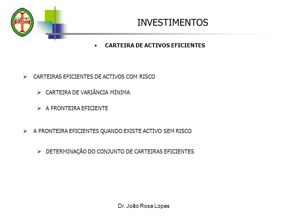 INVESTIMENTOS Dr. João Rosa Lopes CARTEIRA DE ACTIVOS EFICIENTES CARTEIRAS EFICIENTES DE ACTIVOS COM RISCO CARTEIRA DE VARIÂNCIA MÍNIMA A FRONTEIRA EF