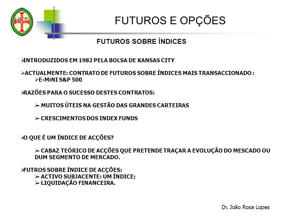 FUTUROS E OPÇÕES FUTUROS SOBRE ÍNDICES Dr. João Rosa Lopes INTRODUZIDOS EM 1982 PELA BOLSA DE KANSAS CITY ACTUALMENTE: CONTRATO DE FUTUROS SOBRE ÍNDIC