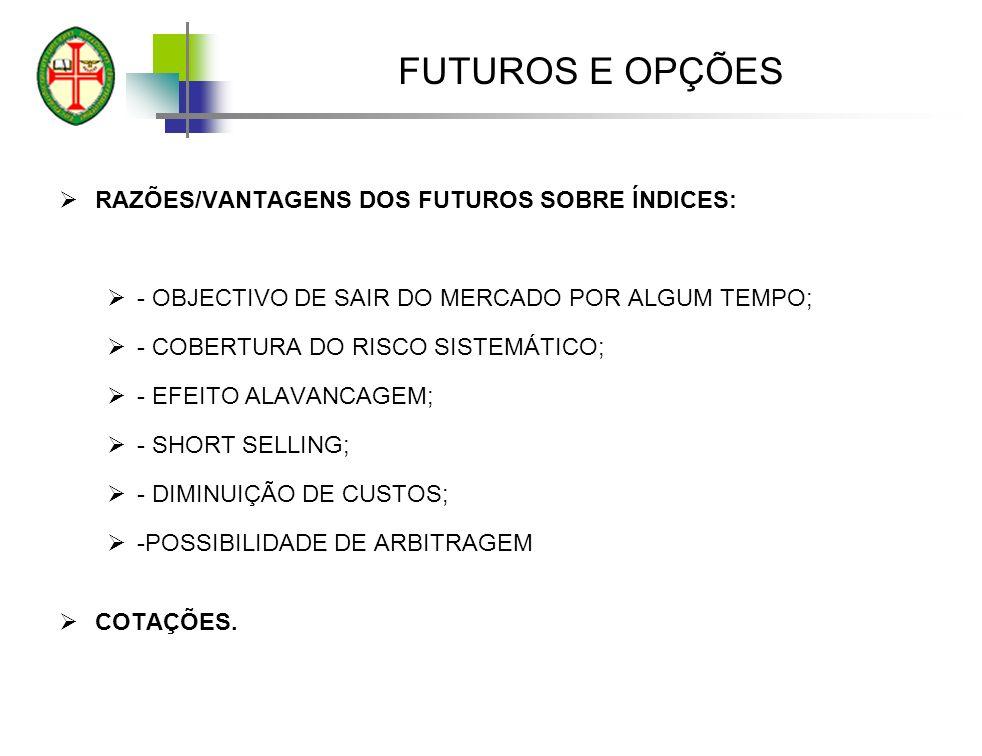 FUTUROS E OPÇÕES RAZÕES/VANTAGENS DOS FUTUROS SOBRE ÍNDICES: - OBJECTIVO DE SAIR DO MERCADO POR ALGUM TEMPO; - COBERTURA DO RISCO SISTEMÁTICO; - EFEITO ALAVANCAGEM; - SHORT SELLING; - DIMINUIÇÃO DE CUSTOS; -POSSIBILIDADE DE ARBITRAGEM COTAÇÕES.