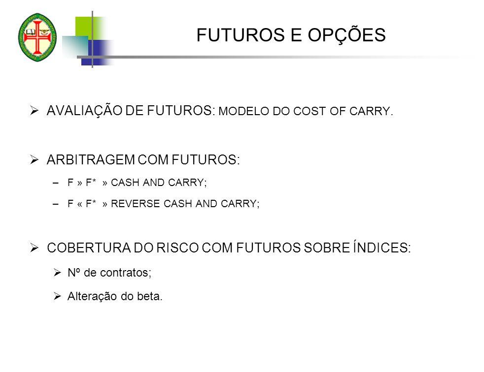 FUTUROS E OPÇÕES AVALIAÇÃO DE FUTUROS: MODELO DO COST OF CARRY. ARBITRAGEM COM FUTUROS: –F » F* » CASH AND CARRY; –F « F* » REVERSE CASH AND CARRY; CO