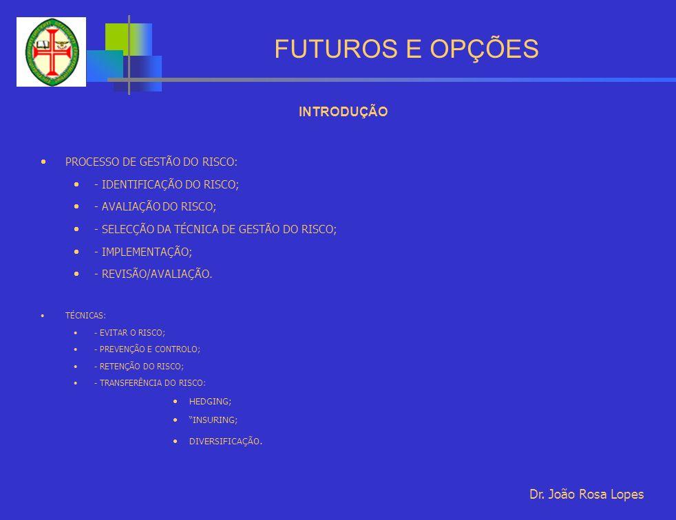 FUTUROS E OPÇÕES INTRODUÇÃO PROCESSO DE GESTÃO DO RISCO: - IDENTIFICAÇÃO DO RISCO; - AVALIAÇÃO DO RISCO; - SELECÇÃO DA TÉCNICA DE GESTÃO DO RISCO; - IMPLEMENTAÇÃO; - REVISÃO/AVALIAÇÃO.