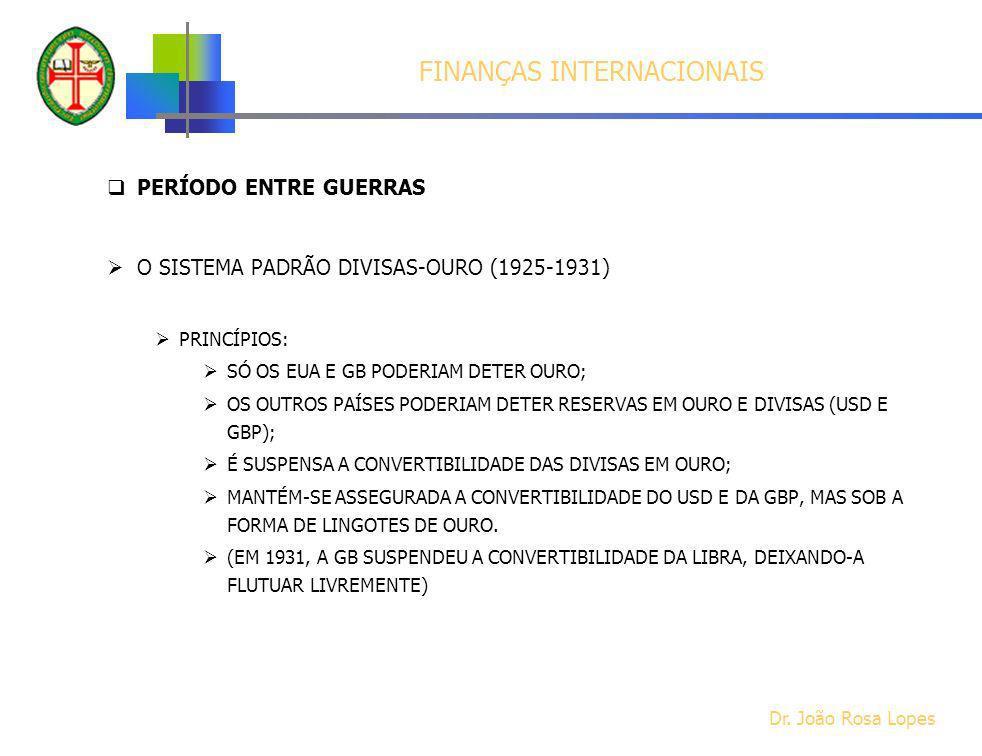 FINANÇAS INTERNACIONAIS PERÍODO ENTRE GUERRAS O SISTEMA PADRÃO DIVISAS-OURO (1925-1931) PRINCÍPIOS: SÓ OS EUA E GB PODERIAM DETER OURO; OS OUTROS PAÍS