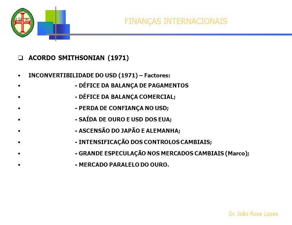 ACORDO SMITHSONIAN (1971) INCONVERTIBILIDADE DO USD (1971) – Factores: - DÉFICE DA BALANÇA DE PAGAMENTOS - DÉFICE DA BALANÇA COMERCIAL; - PERDA DE CON