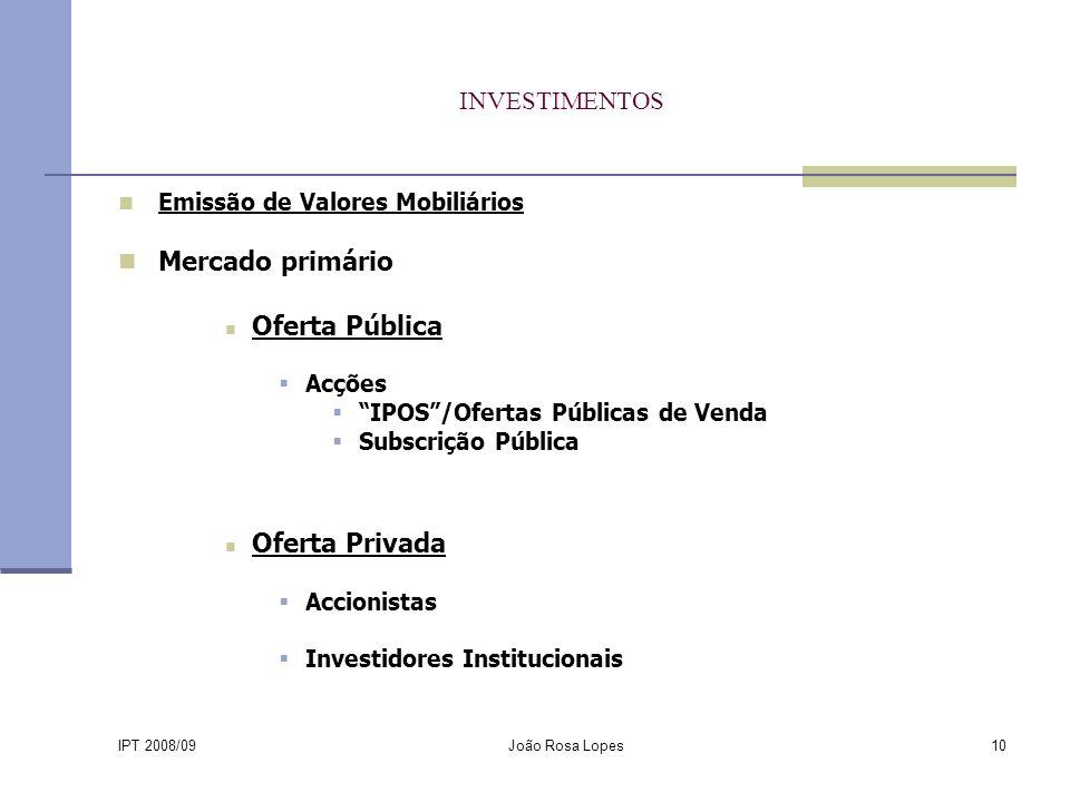 IPT 2008/09 João Rosa Lopes10 INVESTIMENTOS Emissão de Valores Mobiliários Mercado primário Oferta Pública Acções IPOS/Ofertas Públicas de Venda Subscrição Pública Oferta Privada Accionistas Investidores Institucionais