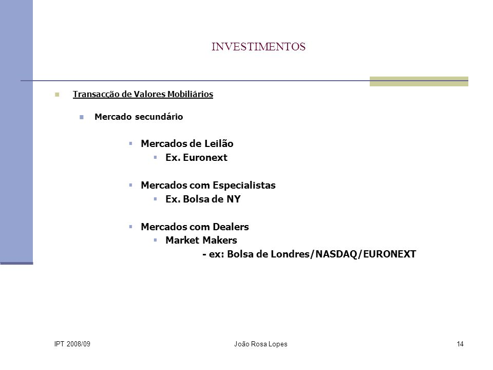 IPT 2008/09 João Rosa Lopes14 INVESTIMENTOS Transacção de Valores Mobiliários Mercado secundário Mercados de Leilão Ex.