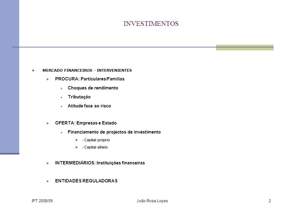 IPT 2008/09 João Rosa Lopes2 INVESTIMENTOS MERCADO FINANCEIROS - INTERVENIENTES PROCURA: Particulares/Famílias Choques de rendimento Tributação Atitude face ao risco OFERTA: Empresas e Estado Financiamento de projectos de investimento - Capital próprio - Capital alheio INTERMEDIÁRIOS: Instituições financeiras ENTIDADES REGULADORAS