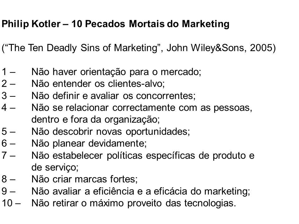Philip Kotler – 10 Pecados Mortais do Marketing (The Ten Deadly Sins of Marketing, John Wiley&Sons, 2005) 1 – Não haver orientação para o mercado; 2 –