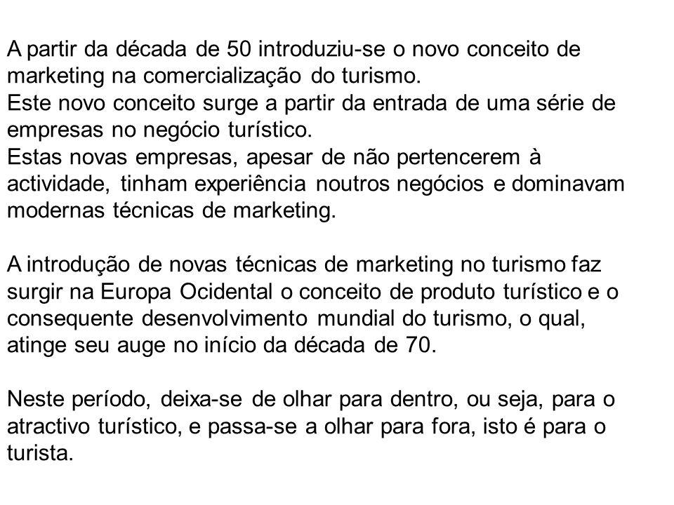 A partir da década de 50 introduziu-se o novo conceito de marketing na comercialização do turismo. Este novo conceito surge a partir da entrada de uma