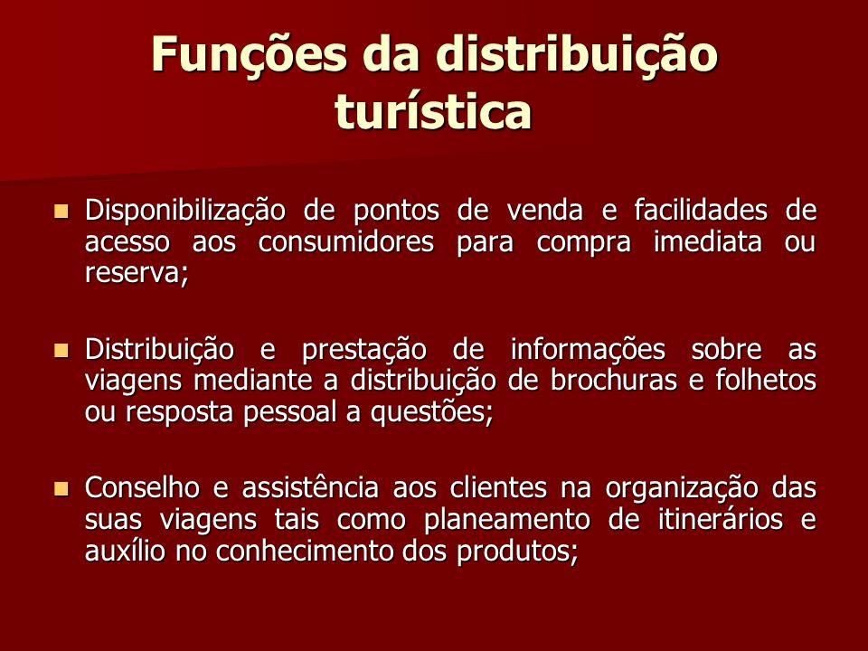 Funções da distribuição turística Disponibilização de pontos de venda e facilidades de acesso aos consumidores para compra imediata ou reserva; Dispon