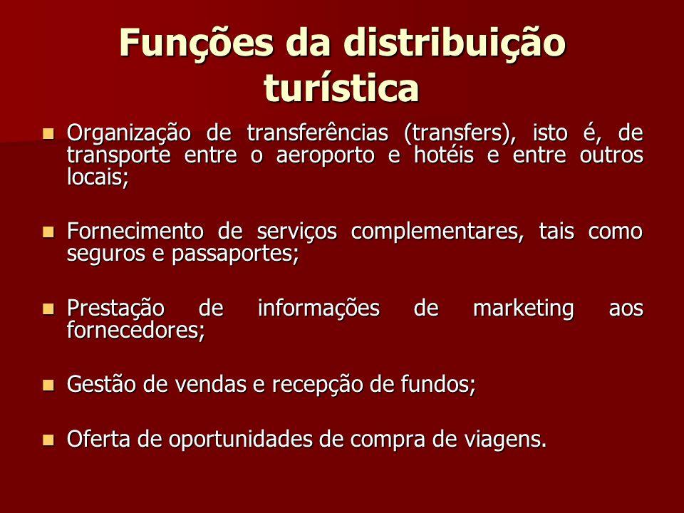 Funções da distribuição turística Organização de transferências (transfers), isto é, de transporte entre o aeroporto e hotéis e entre outros locais; O