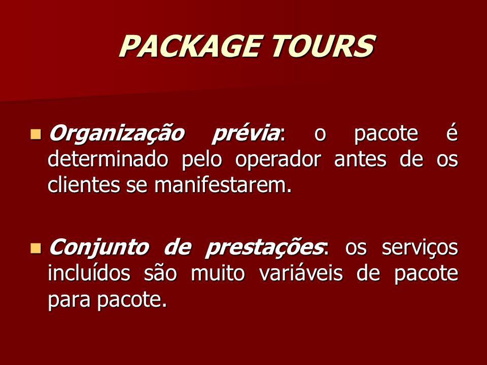PACKAGE TOURS Organização prévia: o pacote é determinado pelo operador antes de os clientes se manifestarem. Organização prévia: o pacote é determinad