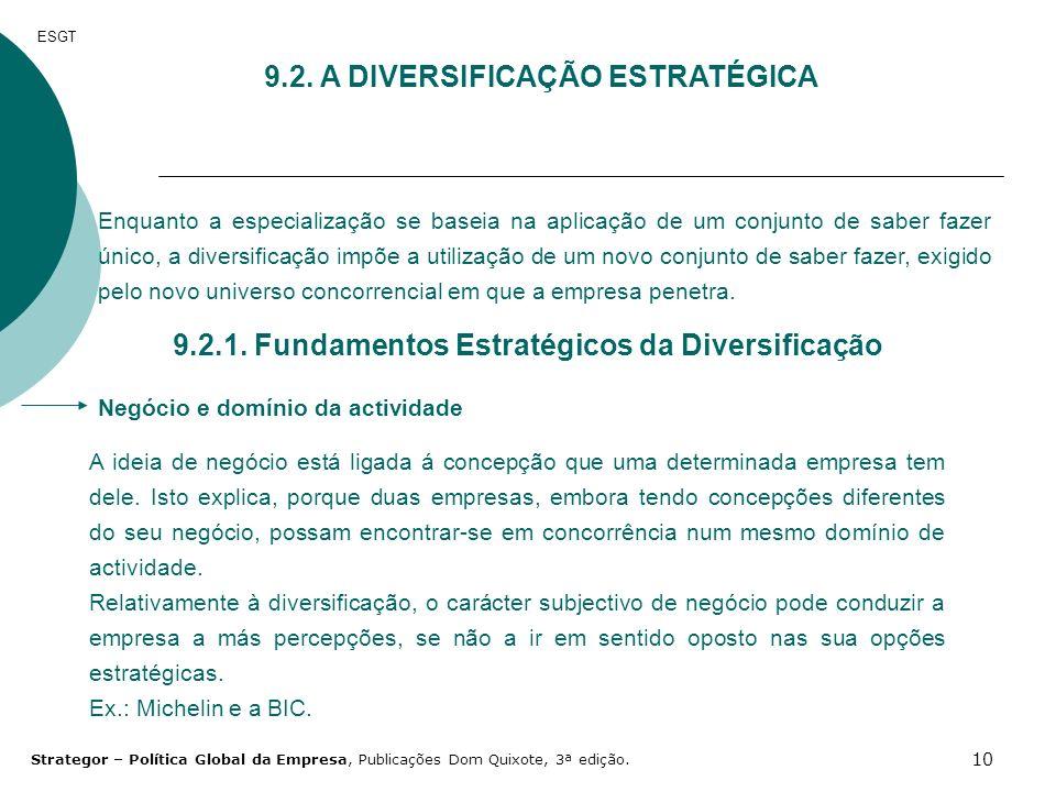 10 ESGT 9.2. A DIVERSIFICAÇÃO ESTRATÉGICA Enquanto a especialização se baseia na aplicação de um conjunto de saber fazer único, a diversificação impõe
