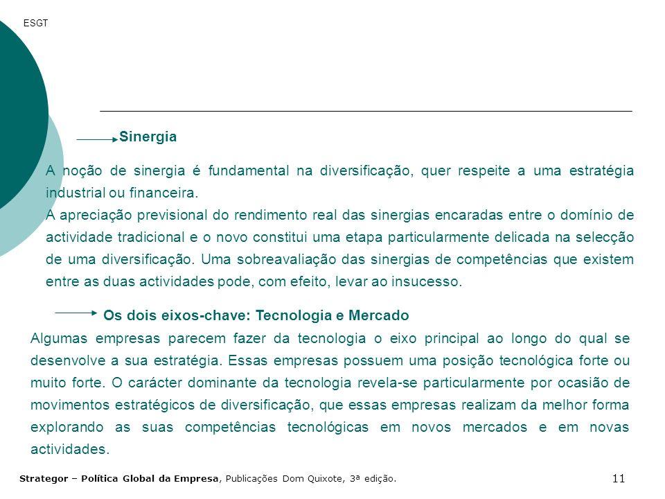 11 ESGT Sinergia A noção de sinergia é fundamental na diversificação, quer respeite a uma estratégia industrial ou financeira. A apreciação previsiona