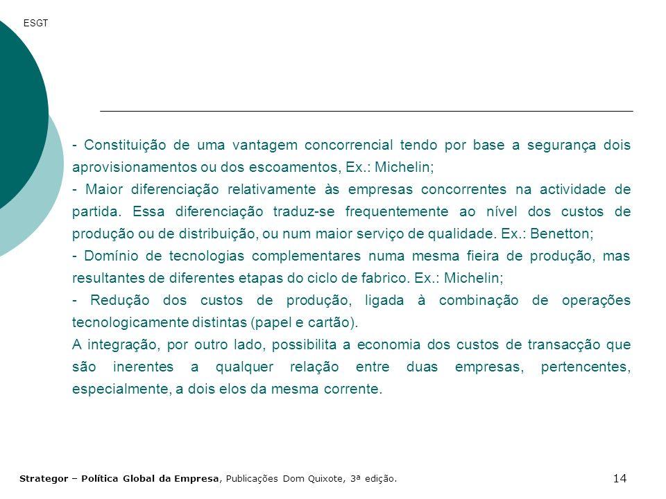 14 ESGT - Constituição de uma vantagem concorrencial tendo por base a segurança dois aprovisionamentos ou dos escoamentos, Ex.: Michelin; - Maior dife