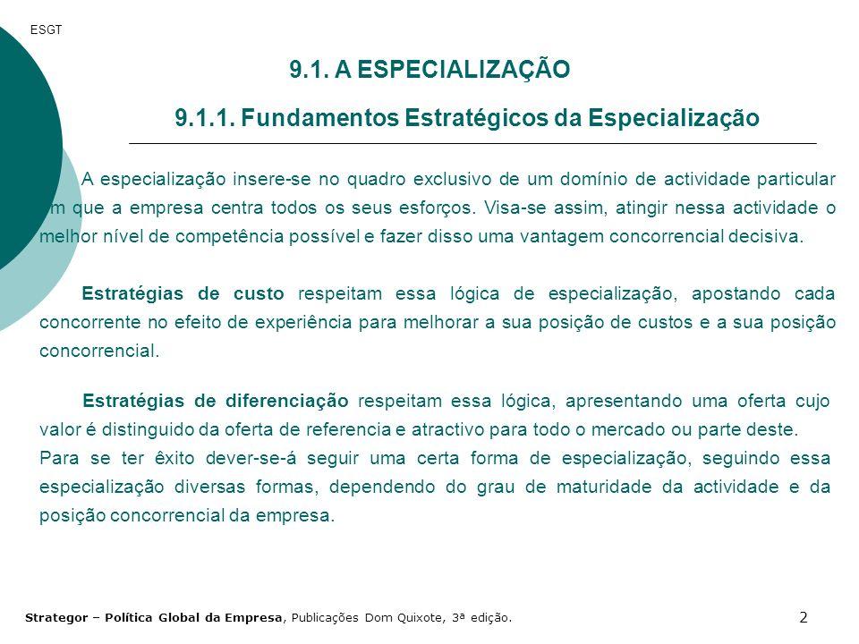 2 ESGT 9.1. A ESPECIALIZAÇÃO 9.1.1. Fundamentos Estratégicos da Especialização A especialização insere-se no quadro exclusivo de um domínio de activid