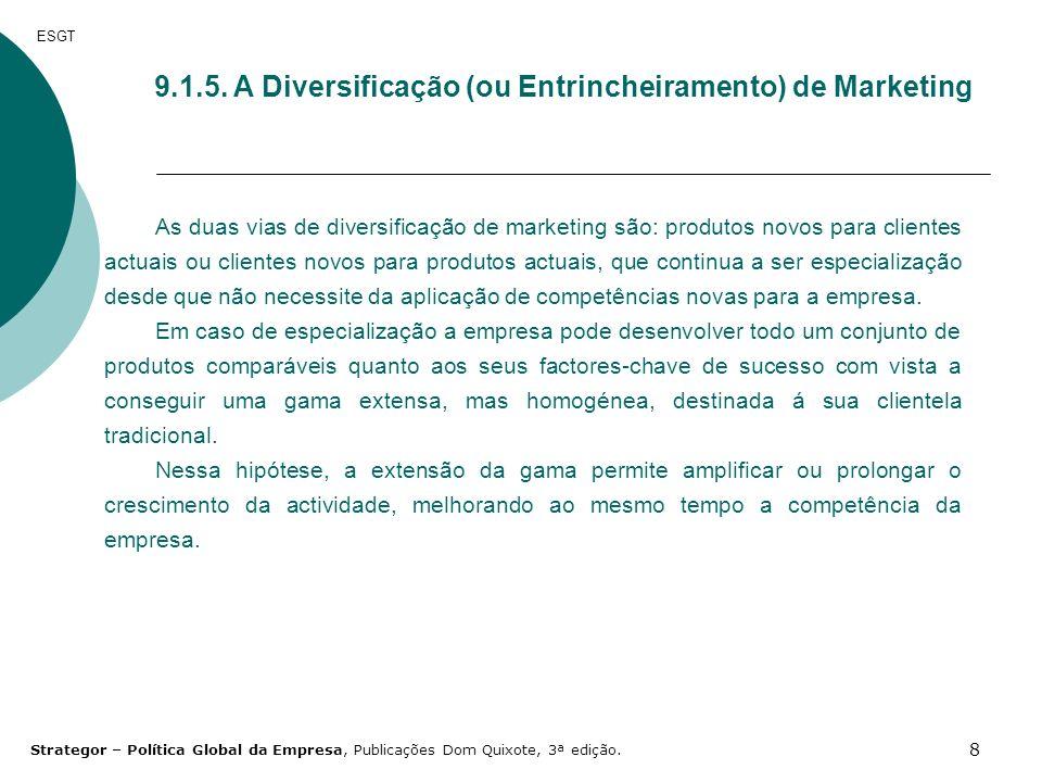 8 9.1.5. A Diversificação (ou Entrincheiramento) de Marketing ESGT As duas vias de diversificação de marketing são: produtos novos para clientes actua