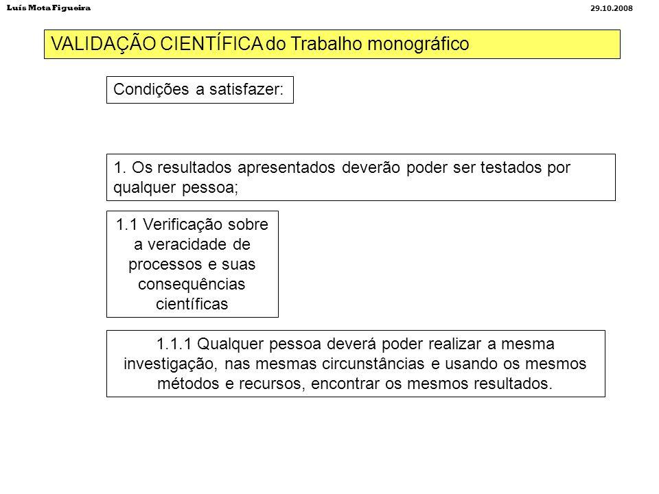 VALIDAÇÃO CIENTÍFICA do Trabalho monográfico Condições a satisfazer: 1. Os resultados apresentados deverão poder ser testados por qualquer pessoa; 1.1