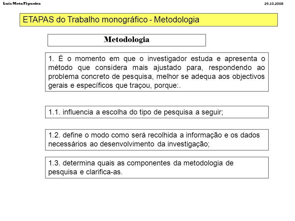 ETAPAS do Trabalho monográfico - Metodologia Metodologia 1. É o momento em que o investigador estuda e apresenta o método que considera mais ajustado