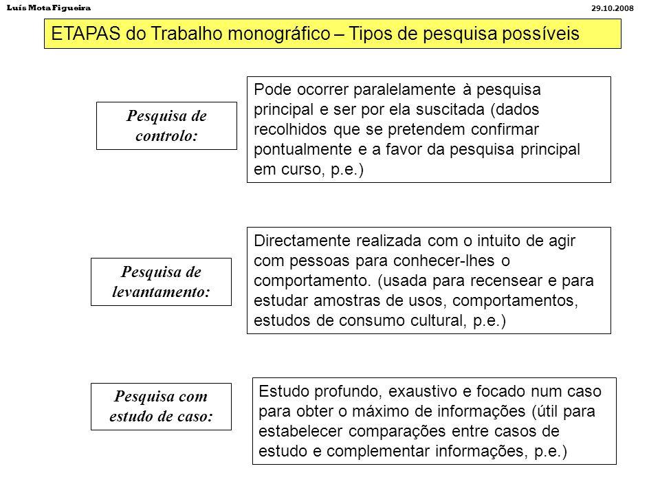 ETAPAS do Trabalho monográfico – Tipos de pesquisa possíveis Pesquisa de controlo: Pesquisa de levantamento: Pesquisa com estudo de caso: Pode ocorrer