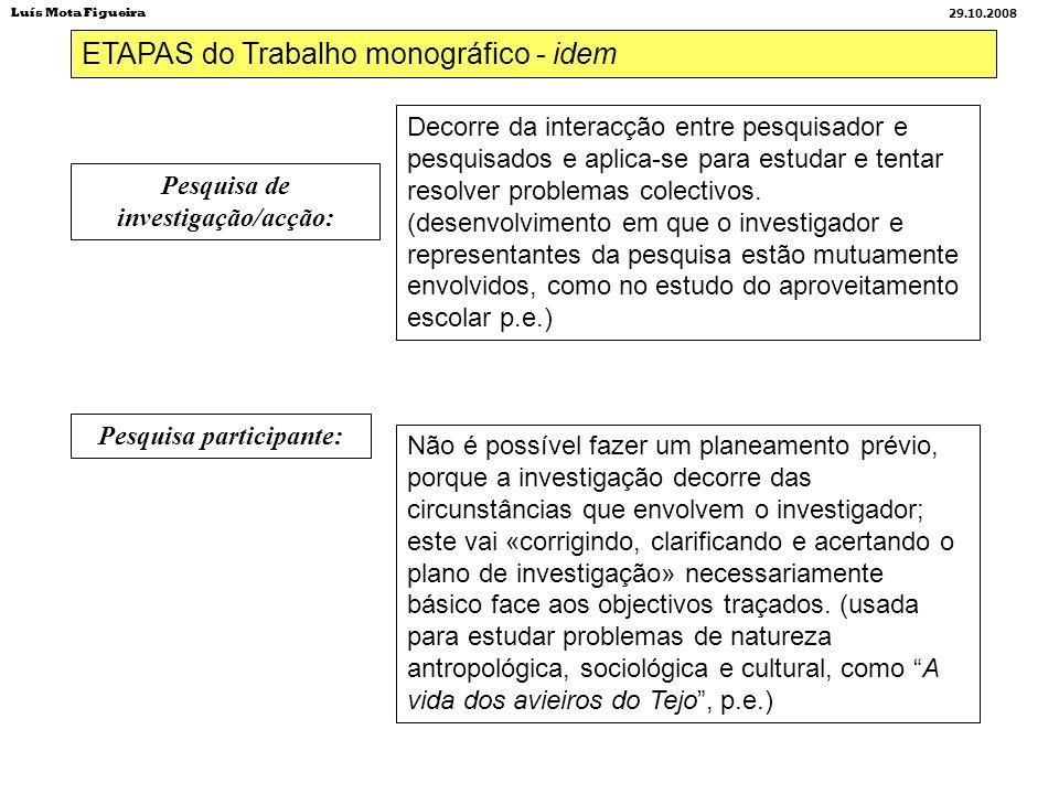 ETAPAS do Trabalho monográfico - idem Pesquisa de investigação/acção: Pesquisa participante: Decorre da interacção entre pesquisador e pesquisados e a