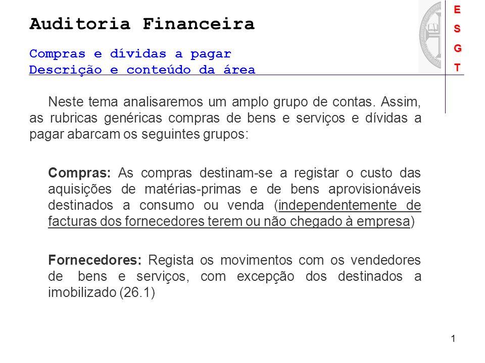 Auditoria FinanceiraESGT 1 Compras e dívidas a pagar Descrição e conteúdo da área Neste tema analisaremos um amplo grupo de contas. Assim, as rubricas