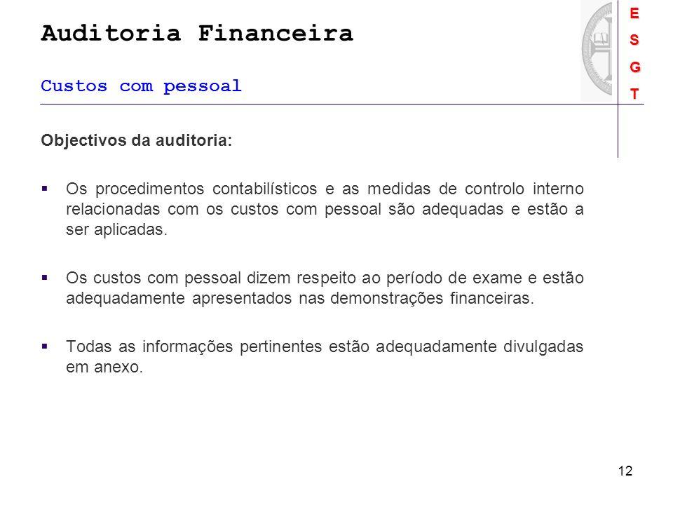 Auditoria FinanceiraESGT 12 Custos com pessoal Objectivos da auditoria: Os procedimentos contabilísticos e as medidas de controlo interno relacionadas