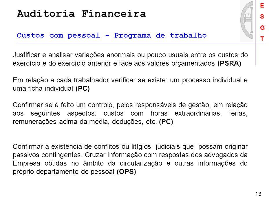 Auditoria FinanceiraESGT 13 Custos com pessoal - Programa de trabalho Justificar e analisar variações anormais ou pouco usuais entre os custos do exer