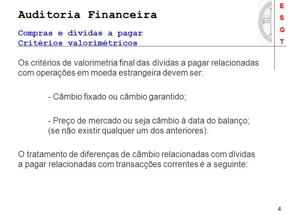 Auditoria FinanceiraESGT 4 Os critérios de valorimetria final das dívidas a pagar relacionadas com operações em moeda estrangeira devem ser: - Câmbio