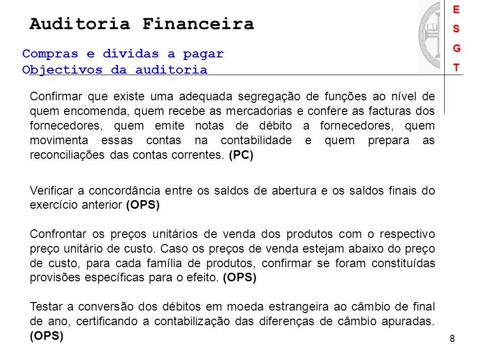 Auditoria FinanceiraESGT 8 Compras e dívidas a pagar Objectivos da auditoria Confirmar que existe uma adequada segregação de funções ao nível de quem