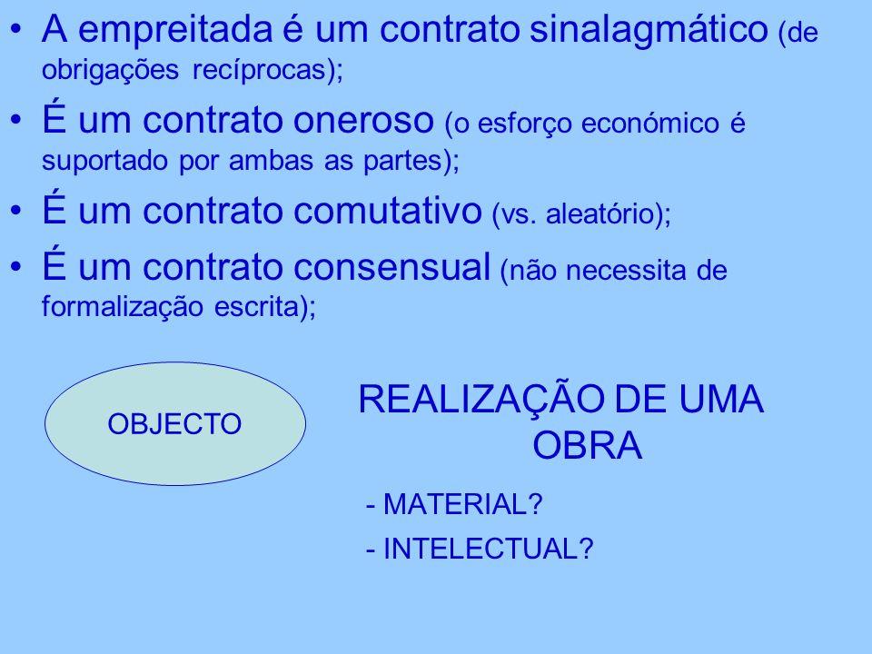 A empreitada é um contrato sinalagmático (de obrigações recíprocas); É um contrato oneroso (o esforço económico é suportado por ambas as partes); É um contrato comutativo (vs.