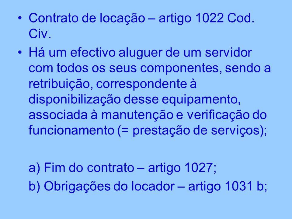 Contrato de locação – artigo 1022 Cod. Civ.