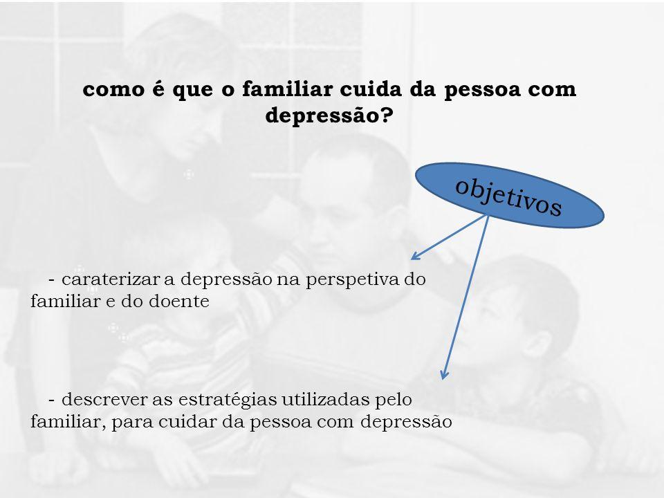 como é que o familiar cuida da pessoa com depressão? objetivos - descrever as estratégias utilizadas pelo familiar, para cuidar da pessoa com depressã