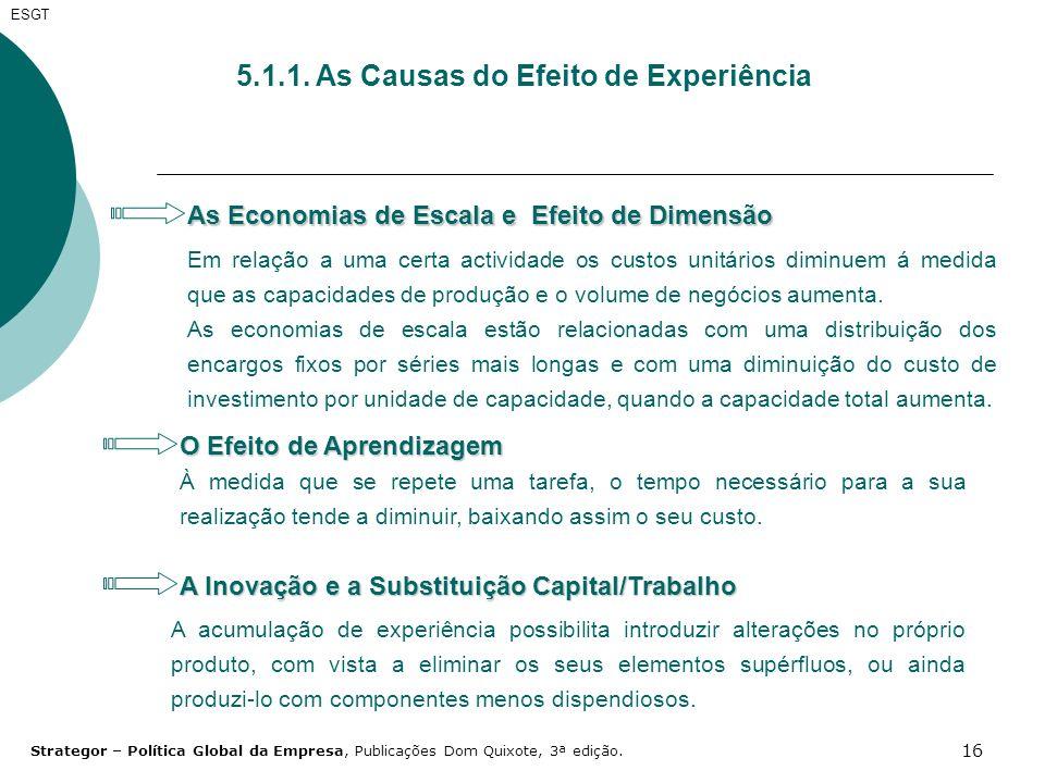 16 ESGT 5.1.1. As Causas do Efeito de Experiência As Economias de Escala e Efeito de Dimensão Em relação a uma certa actividade os custos unitários di
