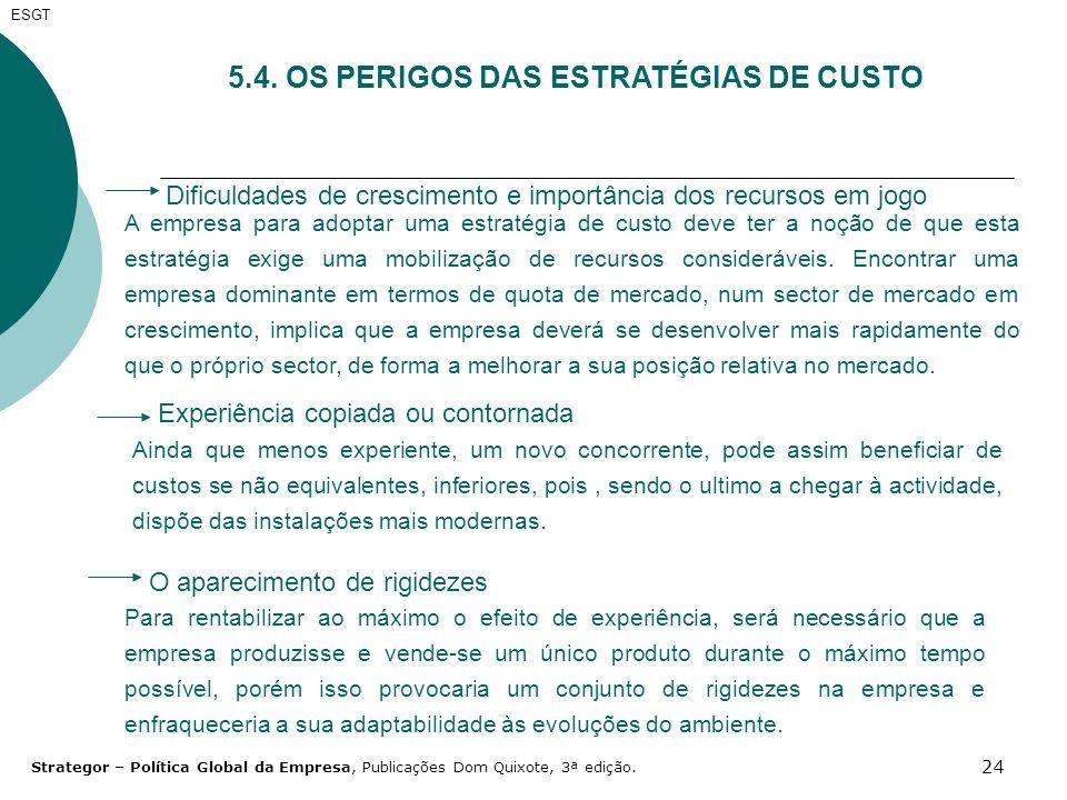 24 ESGT 5.4. OS PERIGOS DAS ESTRATÉGIAS DE CUSTO Dificuldades de crescimento e importância dos recursos em jogo A empresa para adoptar uma estratégia