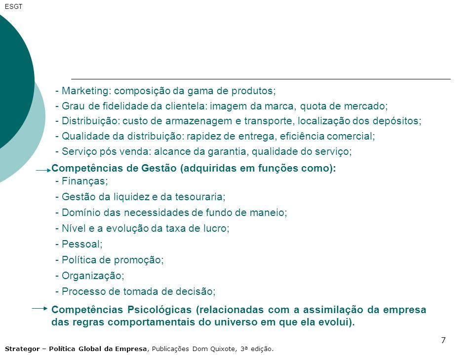 7 Competências de Gestão (adquiridas em funções como): - Finanças; - Gestão da liquidez e da tesouraria; - Domínio das necessidades de fundo de maneio