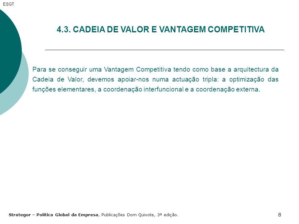 8 4.3. CADEIA DE VALOR E VANTAGEM COMPETITIVA Para se conseguir uma Vantagem Competitiva tendo como base a arquitectura da Cadeia de Valor, devemos ap