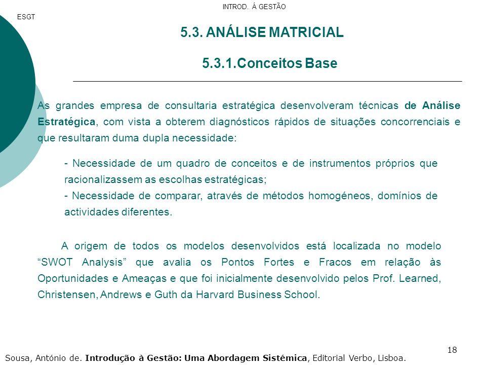 18 5.3. ANÁLISE MATRICIAL 5.3.1.Conceitos Base As grandes empresa de consultaria estratégica desenvolveram técnicas de Análise Estratégica, com vista