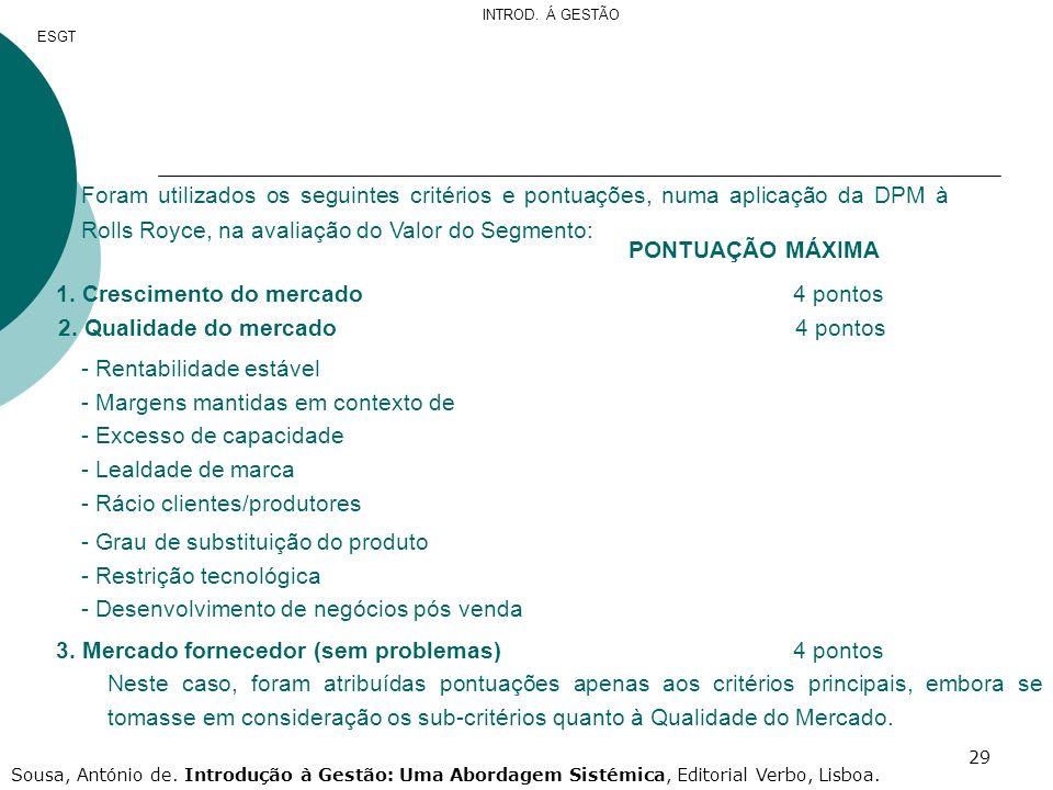 29 Foram utilizados os seguintes critérios e pontuações, numa aplicação da DPM à Rolls Royce, na avaliação do Valor do Segmento: PONTUAÇÃO MÁXIMA 1. C