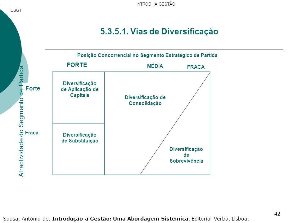 42 5.3.5.1. Vias de Diversificação Posição Concorrencial no Segmento Estratégico de Partida FORTE MÉDIA FRACA Forte Fraca Diversificação de Aplicação