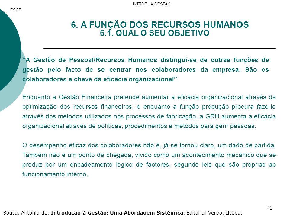 43 6. A FUNÇÃO DOS RECURSOS HUMANOS 6.1. QUAL O SEU OBJETIVO A Gestão de Pessoal/Recursos Humanos distingui-se de outras funções de gestão pelo facto