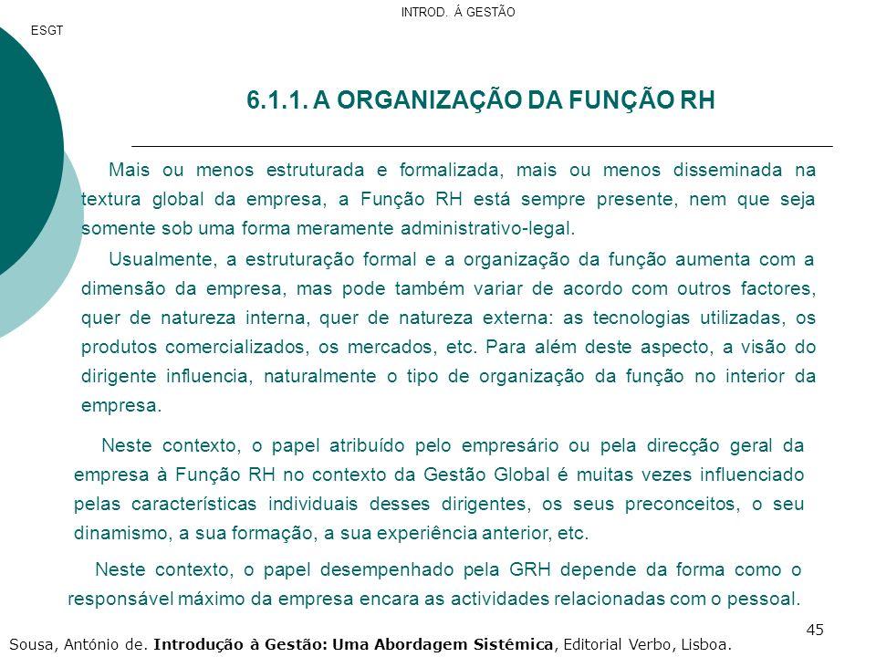 45 6.1.1. A ORGANIZAÇÃO DA FUNÇÃO RH Mais ou menos estruturada e formalizada, mais ou menos disseminada na textura global da empresa, a Função RH está