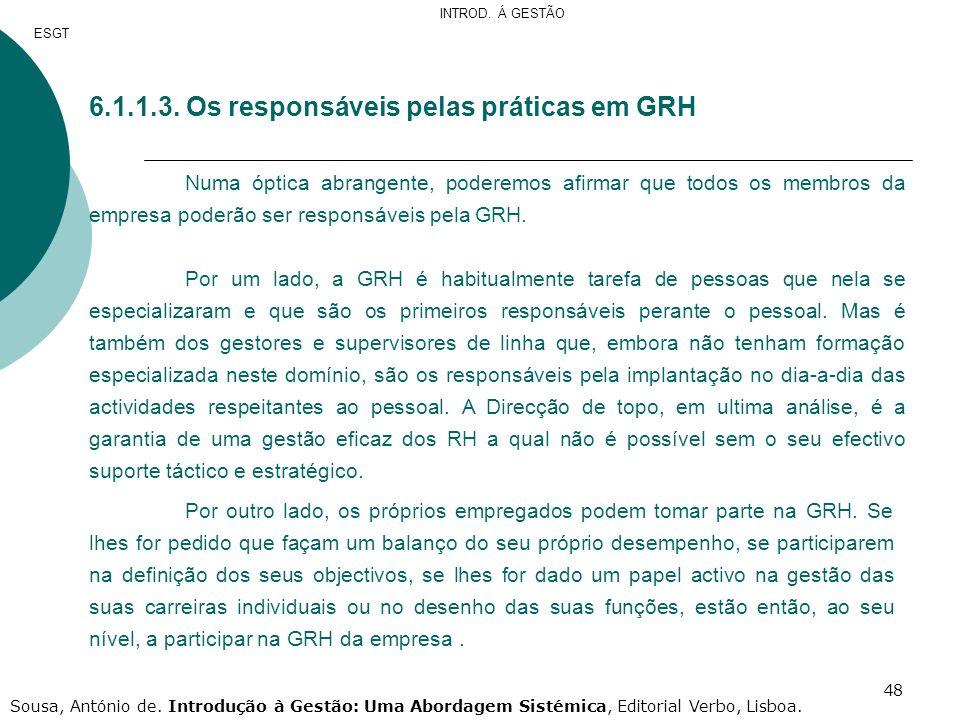 48 6.1.1.3. Os responsáveis pelas práticas em GRH Numa óptica abrangente, poderemos afirmar que todos os membros da empresa poderão ser responsáveis p