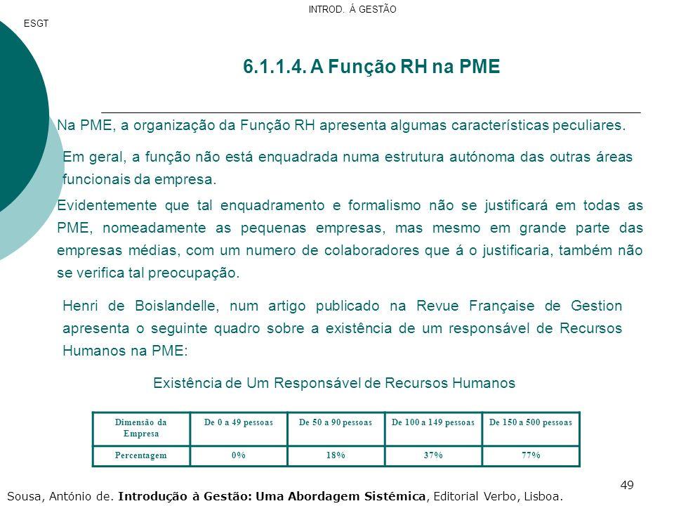 49 6.1.1.4. A Função RH na PME Na PME, a organização da Função RH apresenta algumas características peculiares. Em geral, a função não está enquadrada