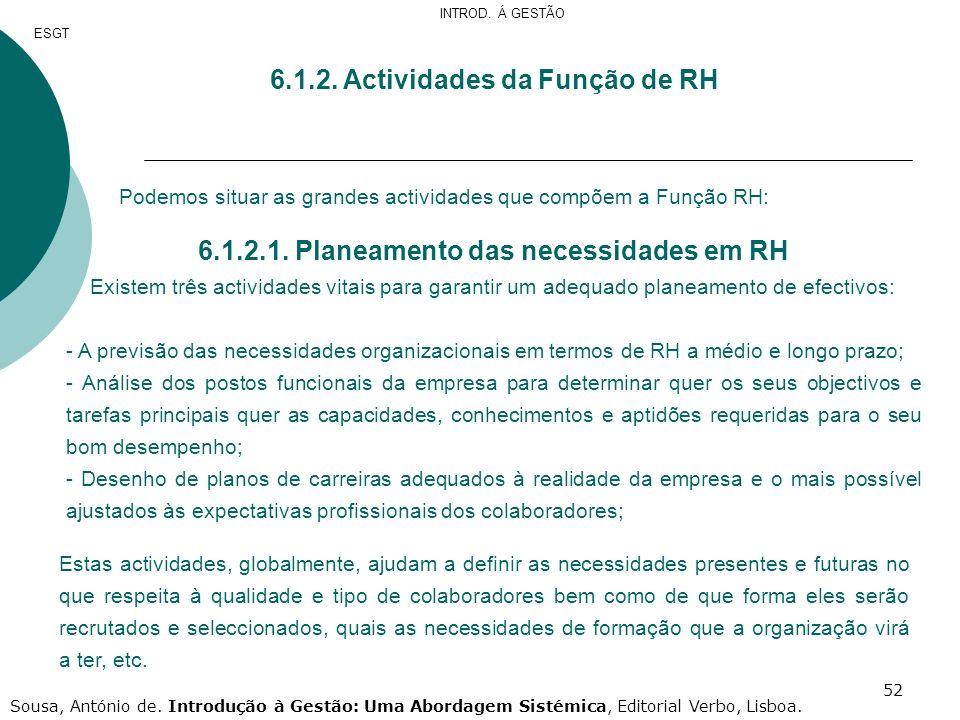 52 6.1.2. Actividades da Função de RH Podemos situar as grandes actividades que compõem a Função RH: 6.1.2.1. Planeamento das necessidades em RH Exist
