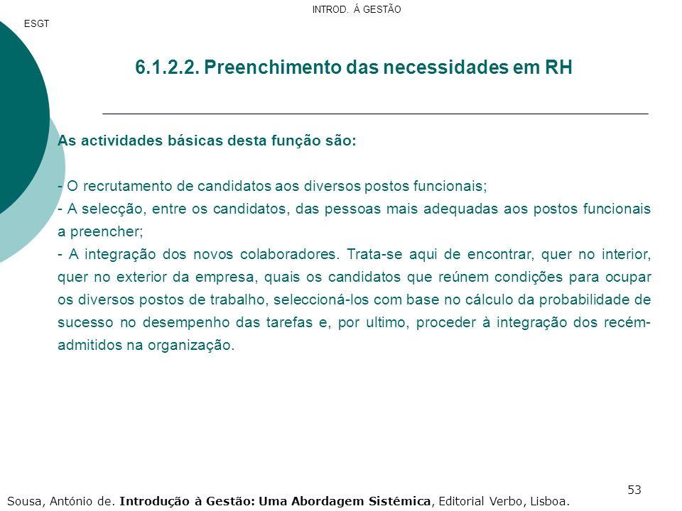 53 6.1.2.2. Preenchimento das necessidades em RH As actividades básicas desta função são: - O recrutamento de candidatos aos diversos postos funcionai
