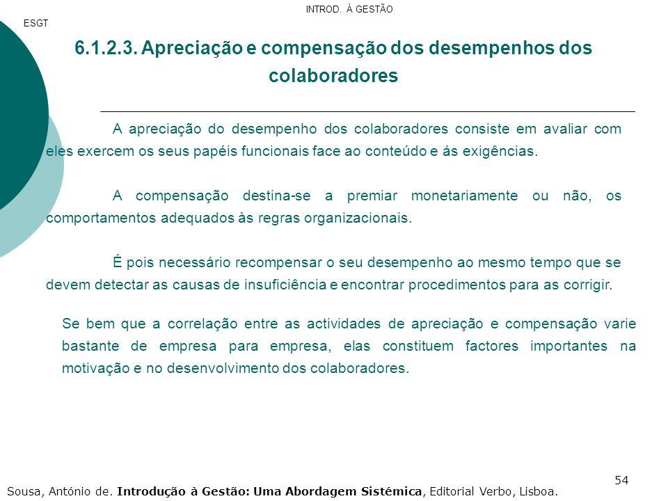 54 6.1.2.3. Apreciação e compensação dos desempenhos dos colaboradores A apreciação do desempenho dos colaboradores consiste em avaliar com eles exerc