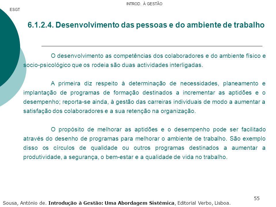 55 6.1.2.4. Desenvolvimento das pessoas e do ambiente de trabalho O desenvolvimento as competências dos colaboradores e do ambiente físico e socio-psi