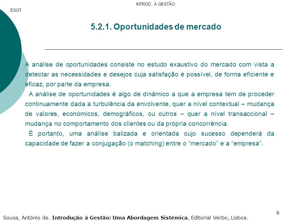 6 5.2.1. Oportunidades de mercado A análise de oportunidades consiste no estudo exaustivo do mercado com vista a detectar as necessidades e desejos cu